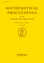 Mathematical Proceedings of the Cambridge Philosophical Society Volume 145 - Issue 1 -