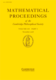 Mathematical Proceedings of the Cambridge Philosophical Society Volume 145 - Issue 3 -