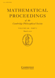 Mathematical Proceedings of the Cambridge Philosophical Society Volume 148 - Issue 2 -