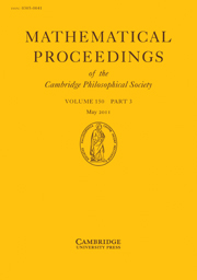 Mathematical Proceedings of the Cambridge Philosophical Society Volume 150 - Issue 3 -