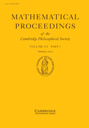 Mathematical Proceedings of the Cambridge Philosophical Society Volume 152 - Issue 1 -