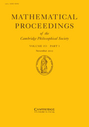 Mathematical Proceedings of the Cambridge Philosophical Society Volume 153 - Issue 3 -