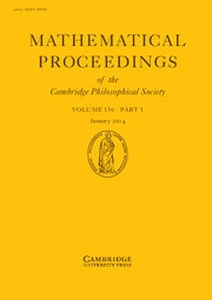 Mathematical Proceedings of the Cambridge Philosophical Society Volume 156 - Issue 1 -