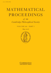 Mathematical Proceedings of the Cambridge Philosophical Society Volume 160 - Issue 3 -