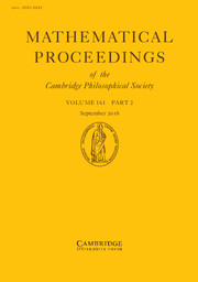 Mathematical Proceedings of the Cambridge Philosophical Society Volume 161 - Issue 2 -