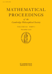 Mathematical Proceedings of the Cambridge Philosophical Society Volume 161 - Issue 3 -
