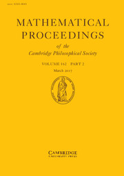 Mathematical Proceedings of the Cambridge Philosophical Society Volume 162 - Issue 2 -