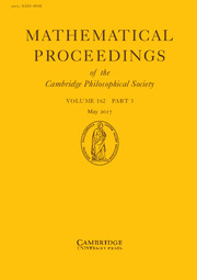 Mathematical Proceedings of the Cambridge Philosophical Society Volume 162 - Issue 3 -