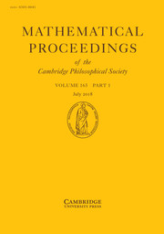 Mathematical Proceedings of the Cambridge Philosophical Society Volume 165 - Issue 1 -