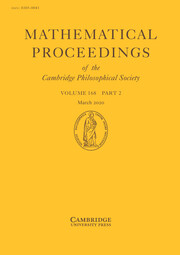 Mathematical Proceedings of the Cambridge Philosophical Society Volume 168 - Issue 2 -