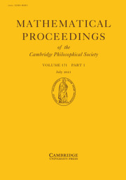 Mathematical Proceedings of the Cambridge Philosophical Society Volume 171 - Issue 1 -