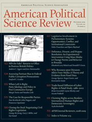 American Political Science Review Volume 103 - Issue 4 -