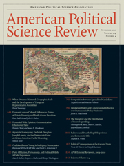American Political Science Review Volume 104 - Issue 4 -