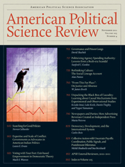 American Political Science Review Volume 105 - Issue 4 -