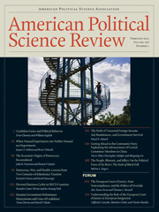 American Political Science Review Volume 106 - Issue 1 -