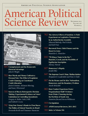 American Political Science Review Volume 106 - Issue 4 -