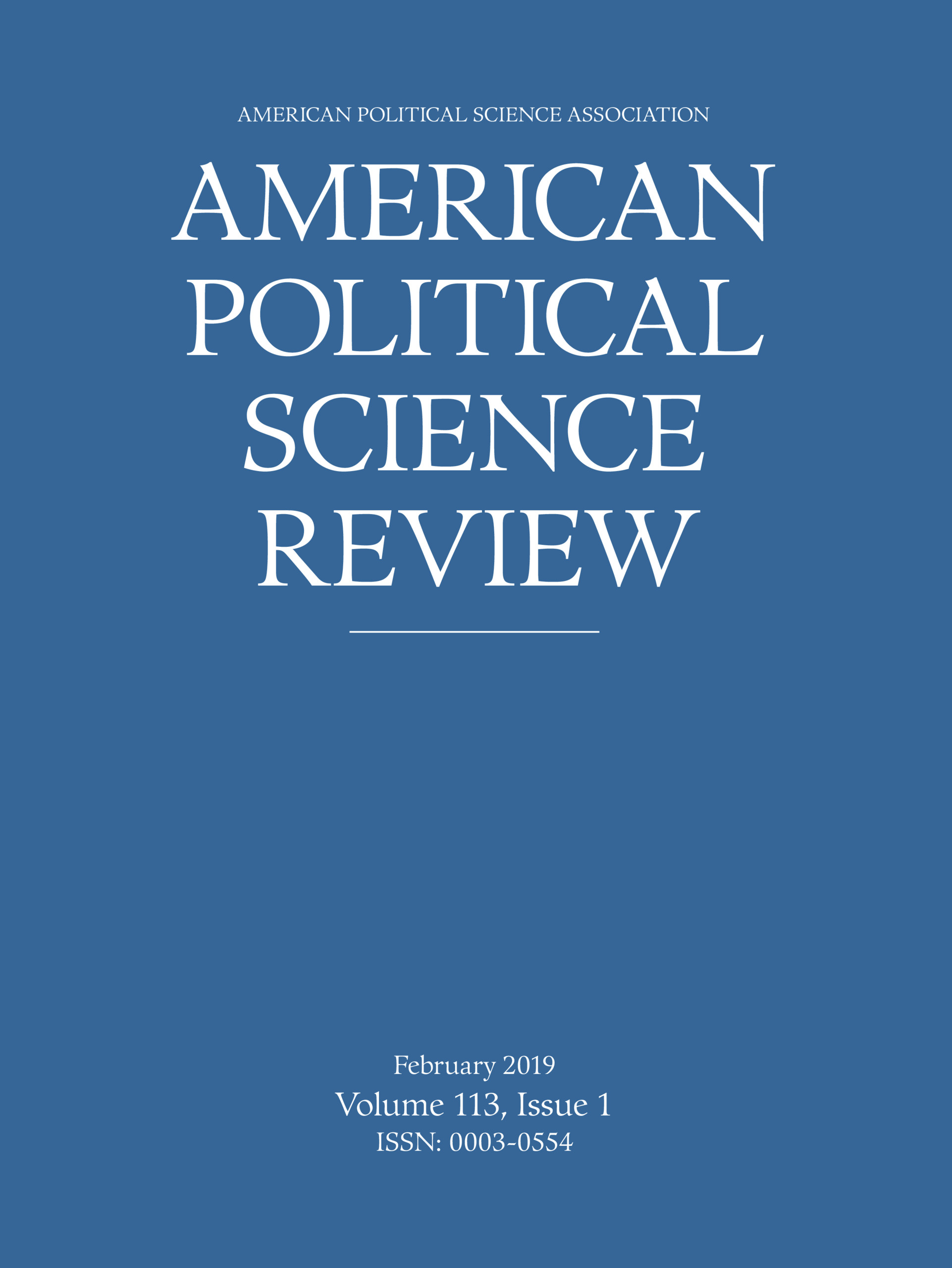American Political Science Review Volume 113