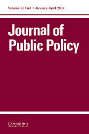 Journal of Public Policy Volume 23 - Issue 1 -