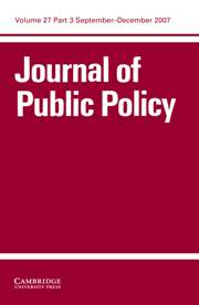 Journal of Public Policy Volume 27 - Issue 3 -