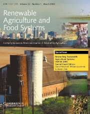 Renewable Agriculture and Food Systems Volume 23 - Issue 1 -  Researching Sustainable Agricultural Systems, ISOFAR 2005