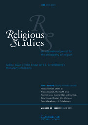Religious Studies Volume   Critical Essays On J L  Religious Studies Volume   Issue   Critical Essays On J L  Schellenbergs