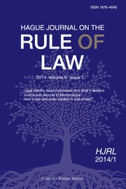 Hague Journal on the Rule of Law Volume 6 - Issue 1 -