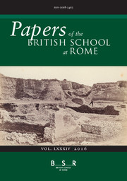 Papers of the British School at Rome Volume 84 - Issue  -
