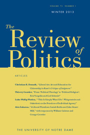 The Review of Politics Volume 75 - Issue 1 -