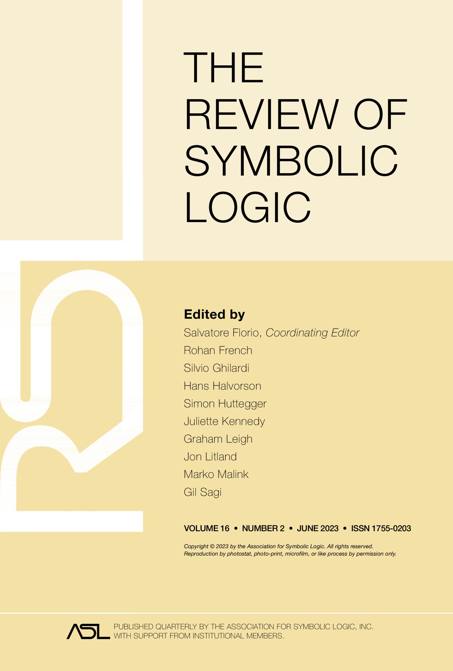 The Review Of Symbolic Logic Cambridge Core