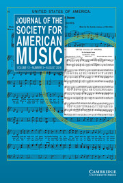 Journal of the Society for American Music Volume 12 - Issue 3 -