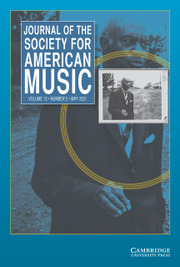 Journal of the Society for American Music Volume 15 - Issue 2 -