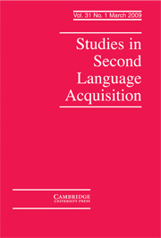 Studies in Second Language Acquisition Volume 31 - Issue 1 -