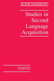 Studies in Second Language Acquisition Volume 39 - Issue 4 -