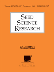 Seed Science Research Volume 18 - Issue 3 -