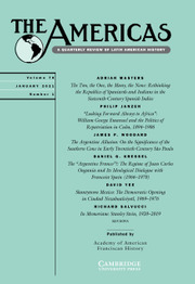 The Americas Volume 78 - Issue 1 -