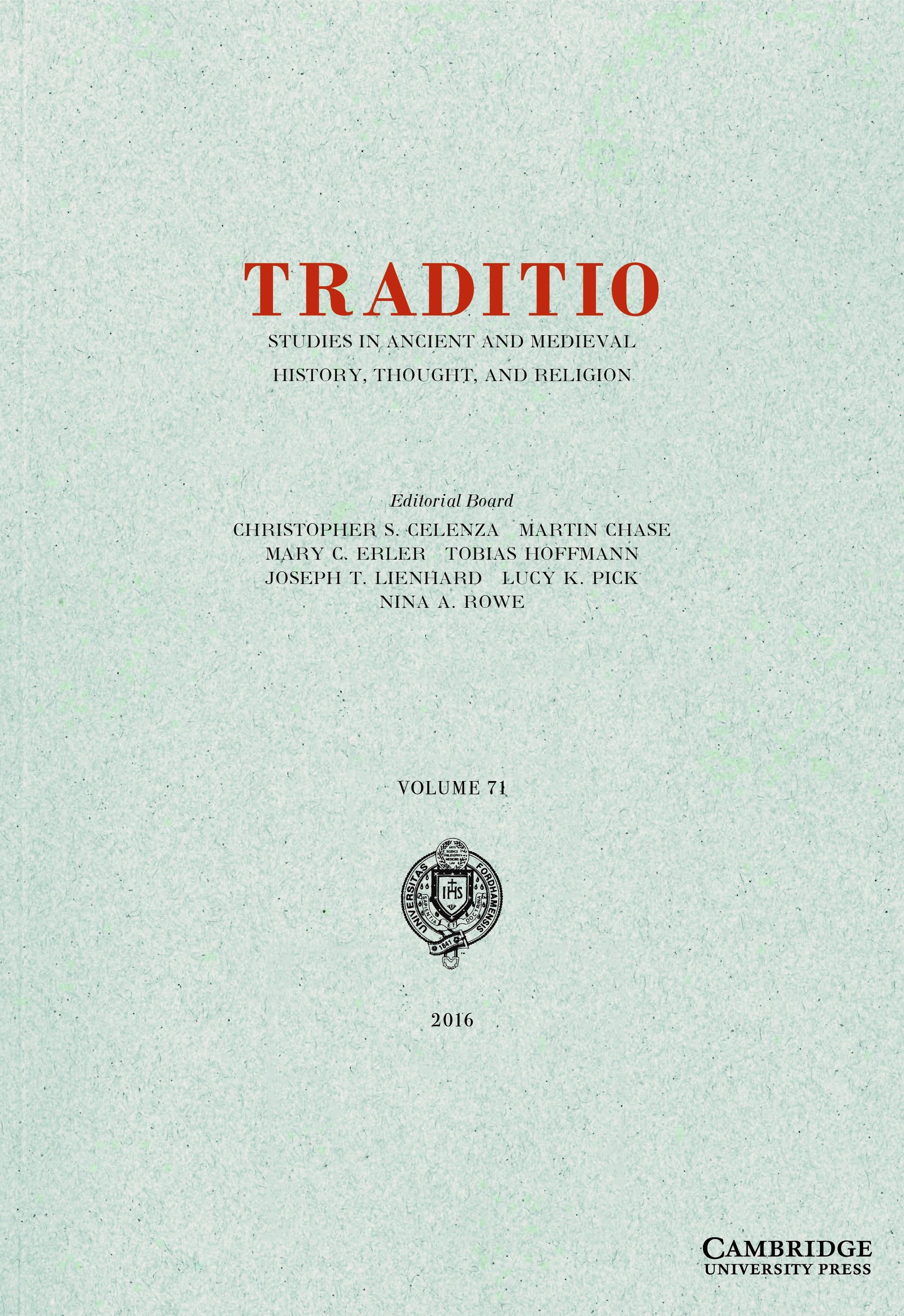 Traditio Volume 71 - Issue  -