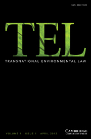 Transnational Environmental Law Volume 1 - Issue 1 -