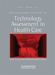 International Journal of Technology Assessment in Health Care Volume 25 - Issue 2 -