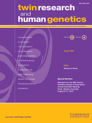 Twin Research and Human Genetics Volume 18 - Issue 4 -