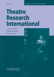 Theatre Research International Volume 32 - Issue 3 -