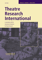 Theatre Research International Volume 37 - Issue 1 -