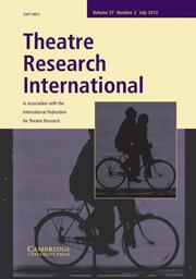 Theatre Research International Volume 37 - Issue 2 -