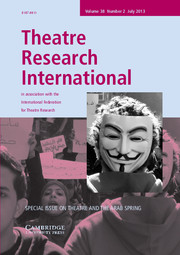 Theatre Research International Volume 38 - Issue 2 -  Theatre and the Arab Spring