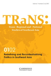 TRaNS: Trans-Regional and -National Studies of Southeast Asia Volume 1 - Special Issue2 -  Redefining and Recontextualising Politics in Southeast Asia