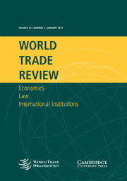 World Trade Review Volume 16 - Issue 1 -