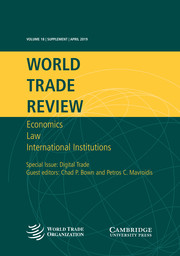 World Trade Review Volume 18 - Special IssueS1 -  Digital Trade