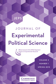 Journal of Experimental Political Science Volume 2 - Issue 1 -