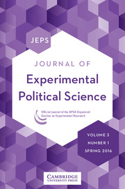 Journal of Experimental Political Science Volume 3 - Issue 1 -