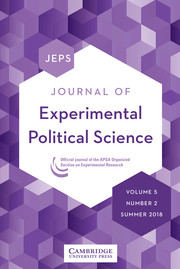 Journal of Experimental Political Science Volume 5 - Issue 2 -