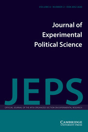 Journal of Experimental Political Science Volume 6 - Issue 2 -